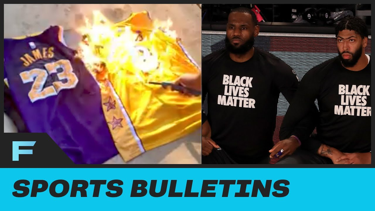 Laker Fan PISSED At Players Kneeling Burned His AD & Lebron Jerseys