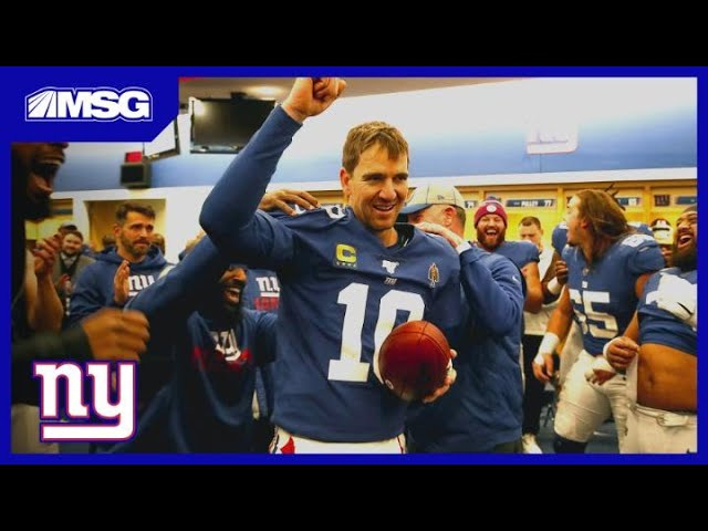 Eli Manning Gets Game Ball, Makes Impassioned Speech in Locker Room | Giants Post Game