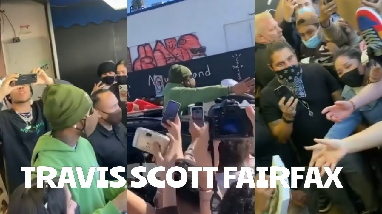 TRAVIS SCOTT FANS SURROUNDED HIM WHEN HE PULLED UP TO FAIRFAX