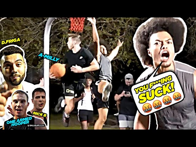 """""""You F***ING SUCK!"""" YouTubers vs D1 & Pro Hoopers GETS HEATED!! Ballislife Squad vs TRASH TALKERS!"""