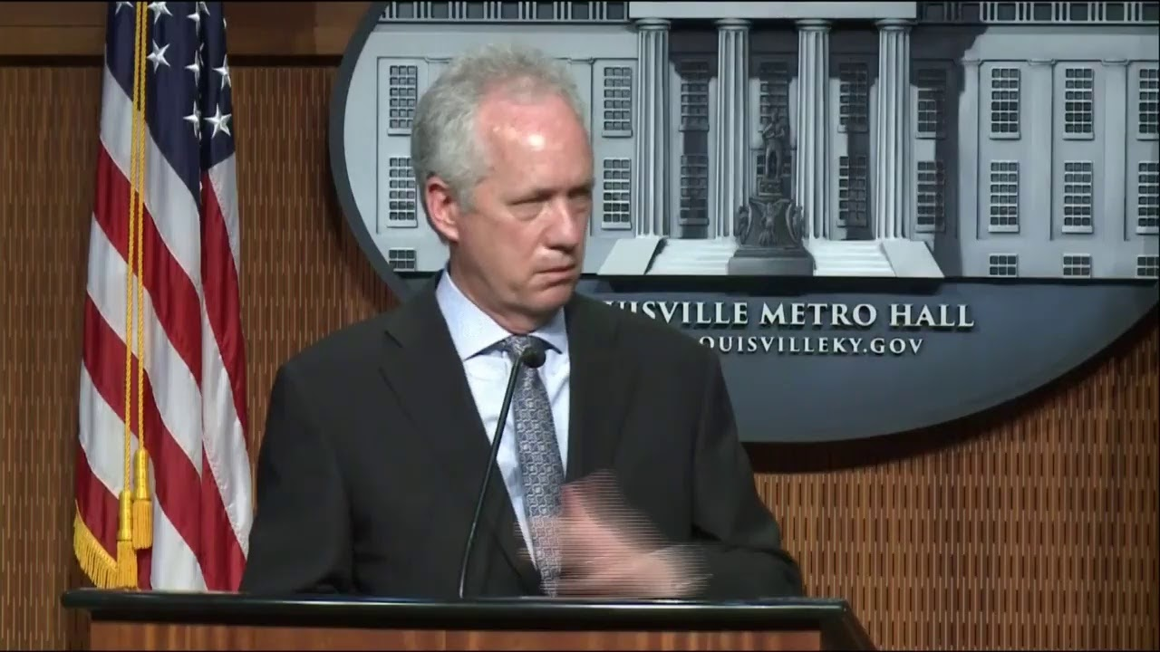 Louisville Mayor Greg Fischer and City Officials news conference on DOJ Announcement.