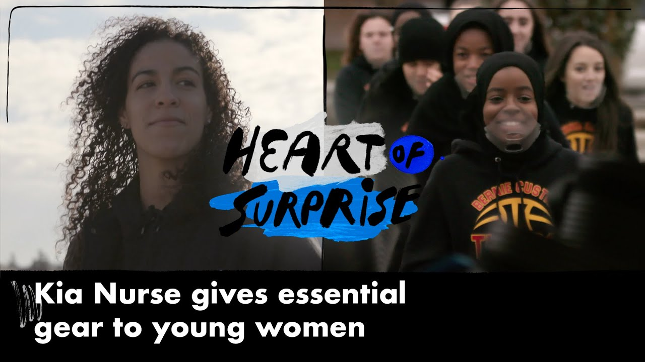 WNBA Guard Kia Nurse Surprises Junior Girls Basketball Team with New Gear   HEART OF SURPRISE