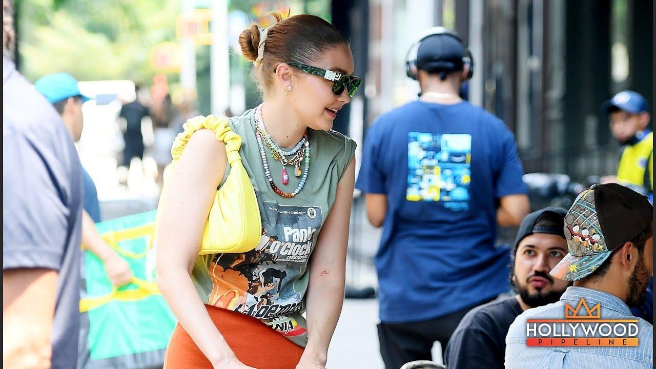 Gigi Hadid takes baby Khai to Sadelle's restaurant in NYC