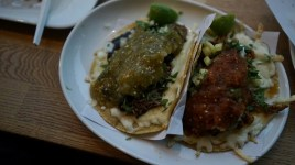 Quesadillas (left: Birria w/ Salsa Verde | Right: Al Pastor w/ Salsa Taquera)