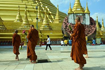 calugari in procesiune la Shwedagon, pagoda cea sfanta si mult-aurita a Myanmarului