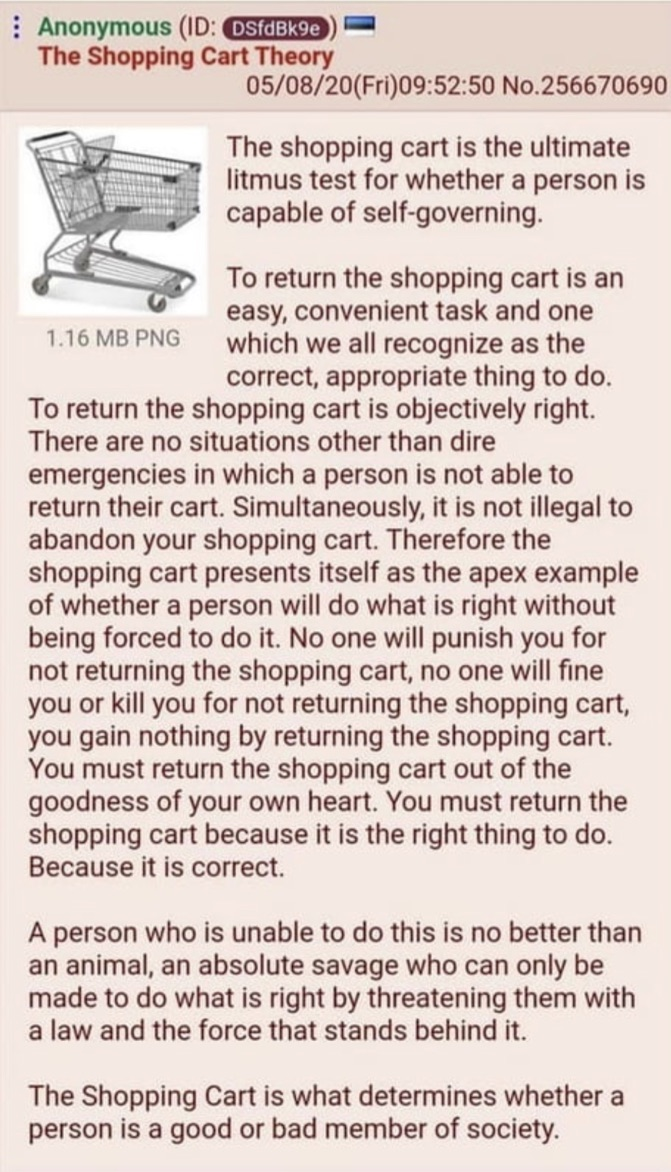 The Shopping Cart Theory on Integrity