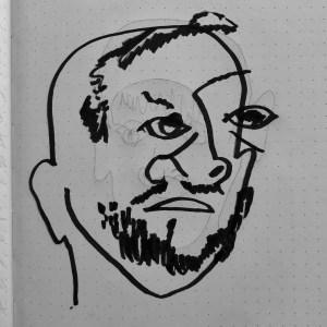 Self-portrait drawing