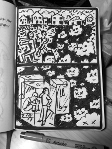 People running from floating virus. Illustration.