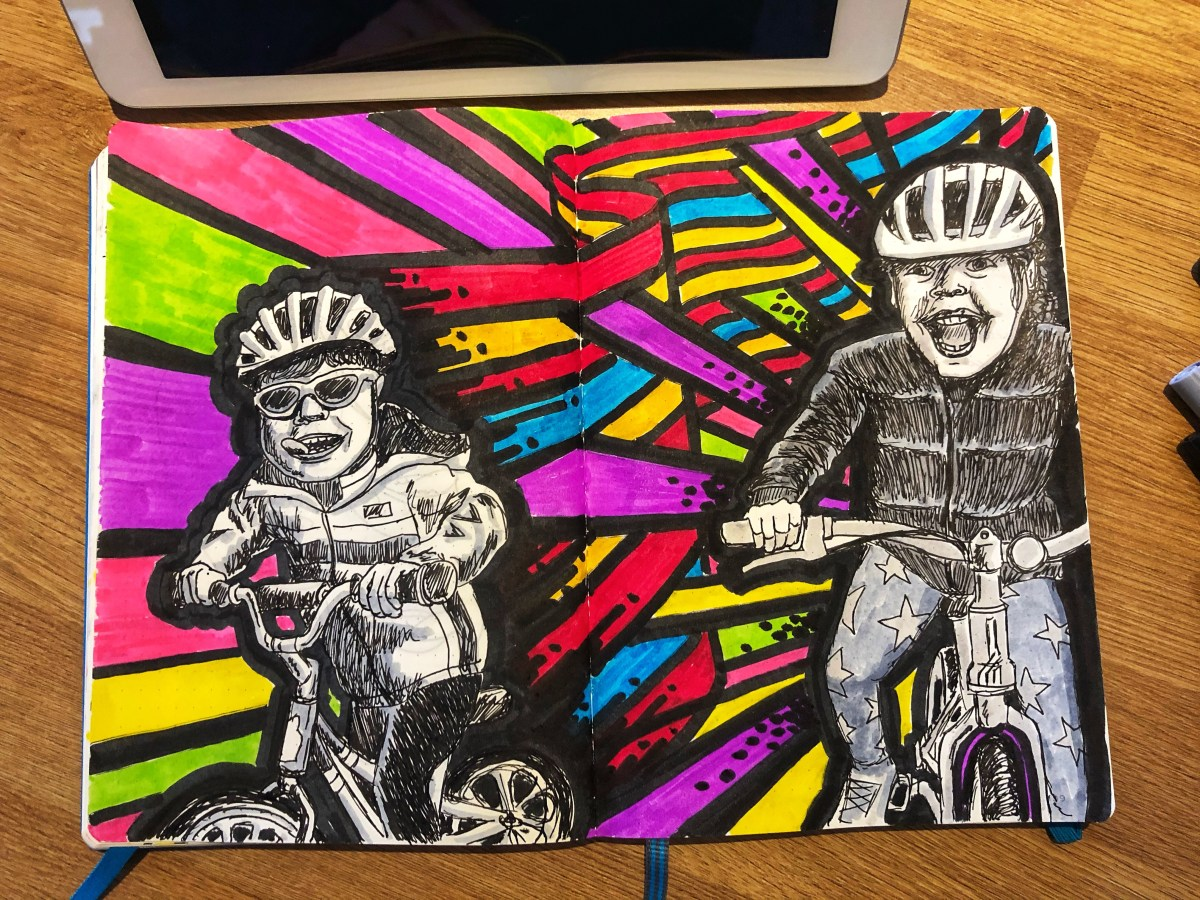 Illustration of Vivi and Sam on bikes with colored waves behind them