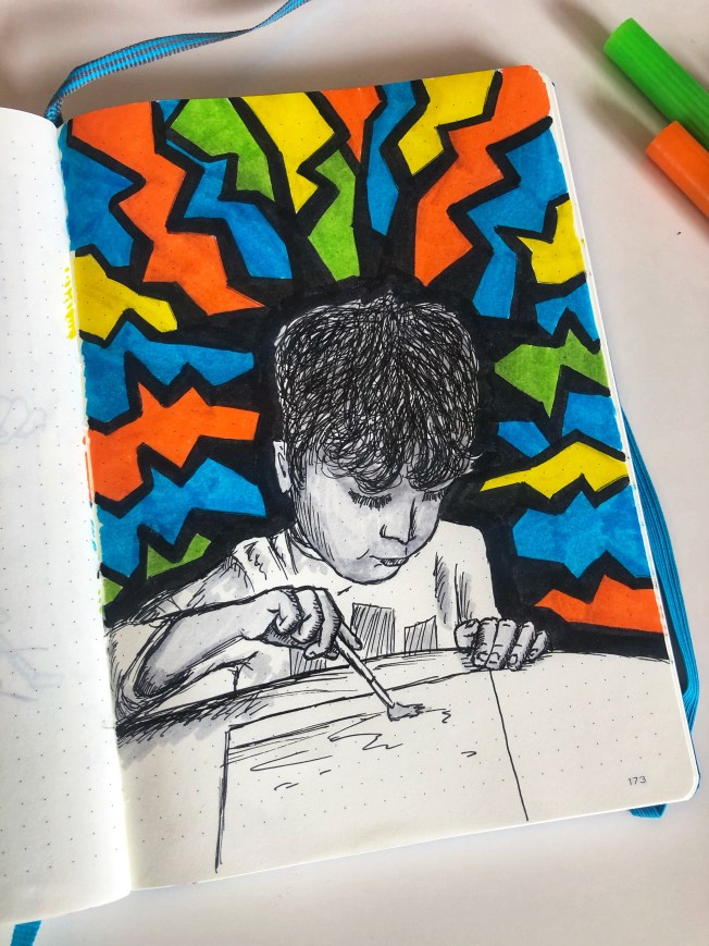 Illustration of Sam painting.