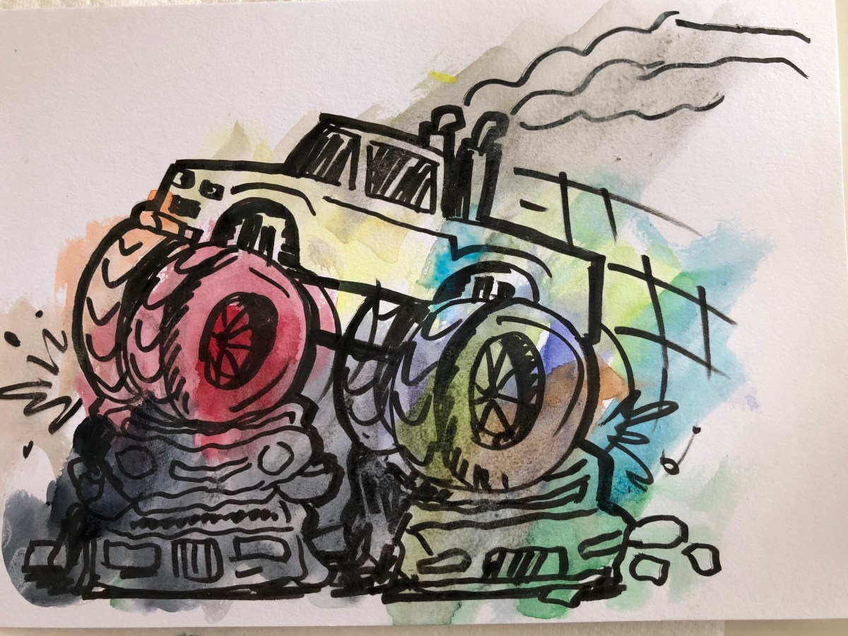 Water color illustration of a monster truck
