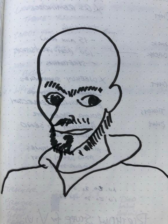 Self-portrait illustration.