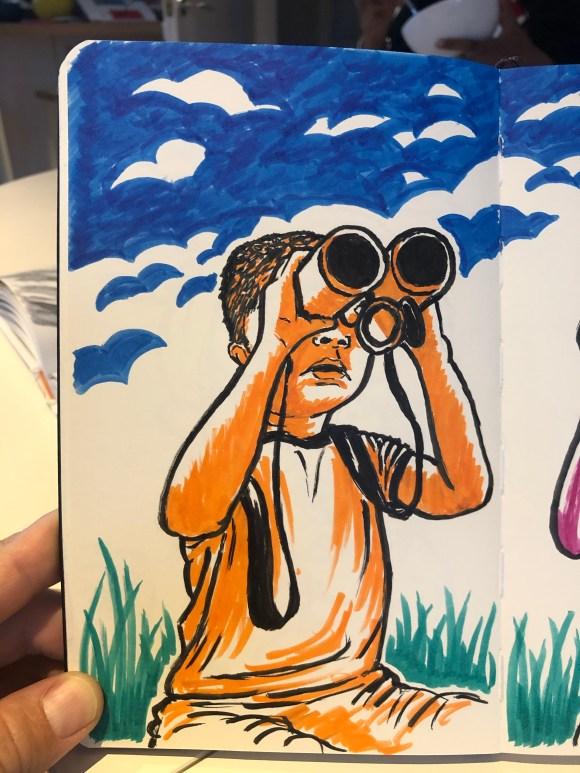 Illustration of kids with binoculars