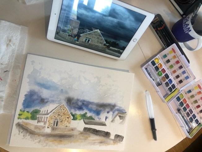 Watercolor painting in-progress