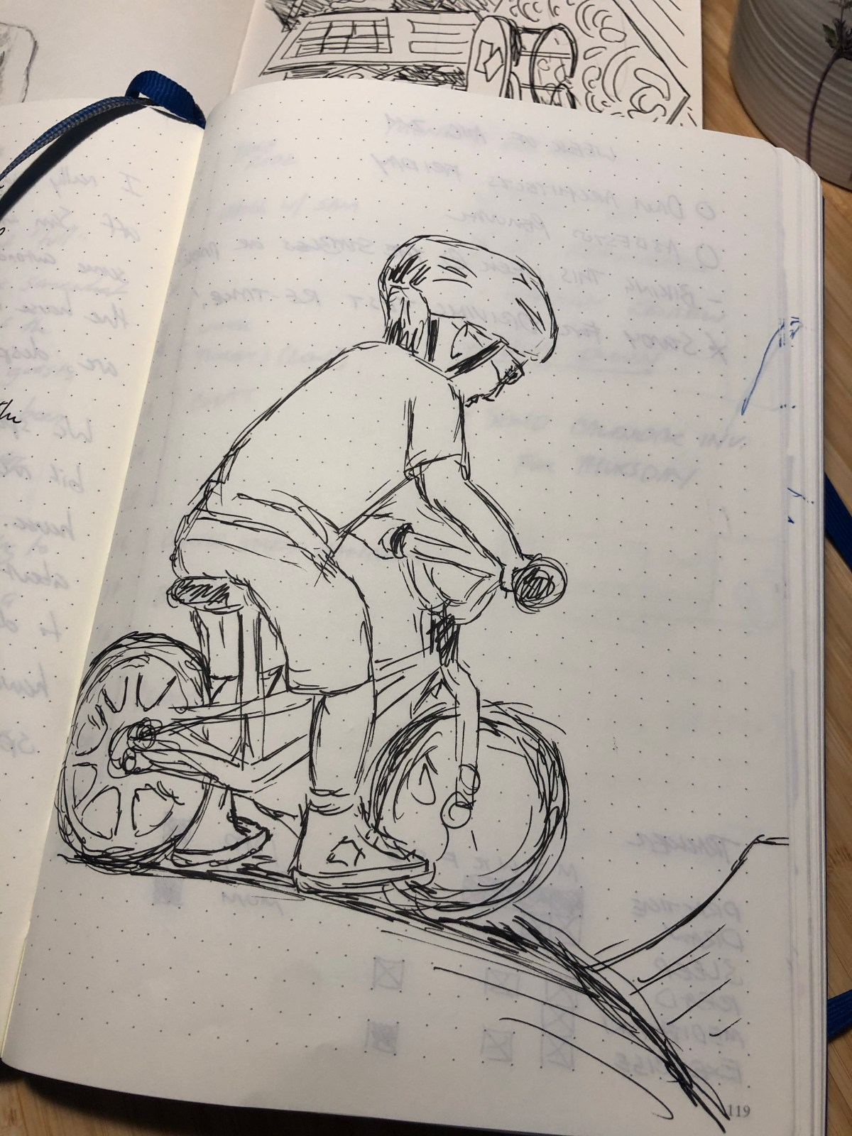Drawing of Sam on his bike