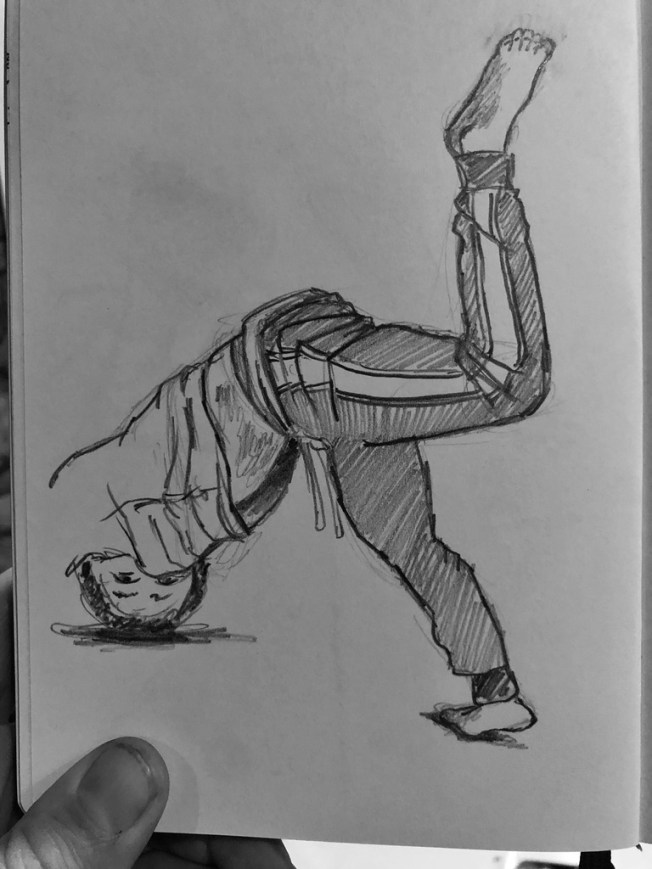 My son Sam doing a break dance move on the floor. Illustration.