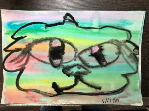 Cat face with a streaky, washed out watercolor background in rainbow colors. Painting.