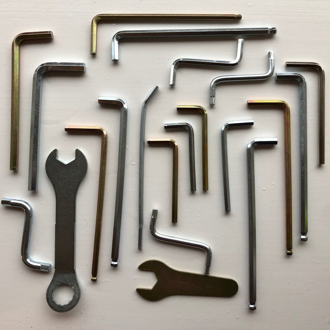 Allan wrenches laid out in an orderly fashion.