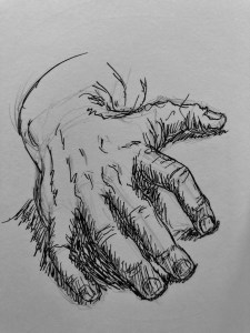 Hand resting on a surface. Illustration.