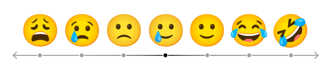 """Spectrum of emojis showing """"smile with tear"""" at the center."""