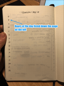 Daily notebook entry showing the hours listed on the left.