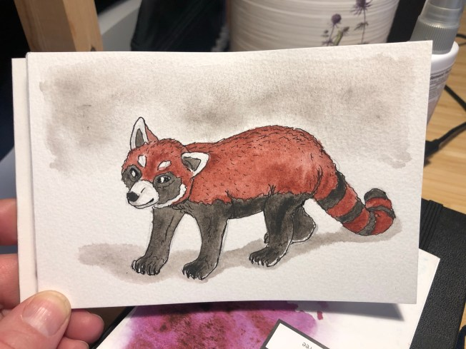 Painting of a red panda toy against a white background.