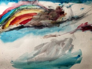 Rainbow watercolor painting with clouds.