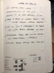 Weekly entry done for a week in notebook.