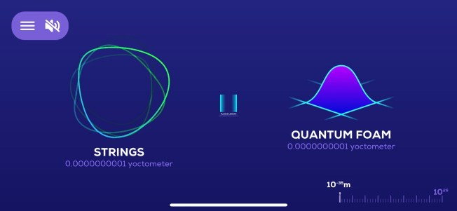 Screenshot of the Universe in a Nutshell app showing Strings and Quantum Foam.