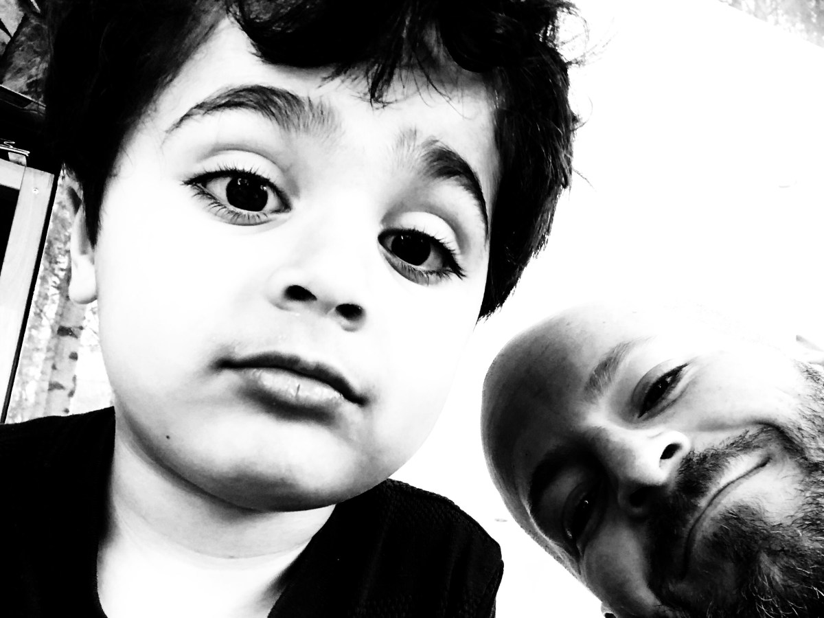 Portrait of Sam and I in black and white.