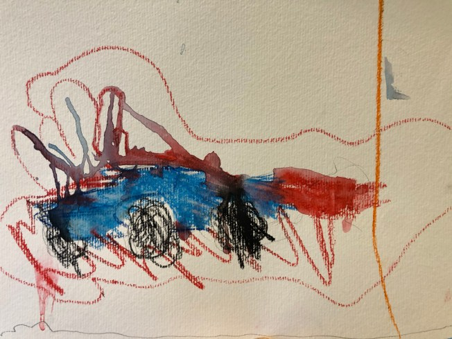 Kids painting of a racecar.