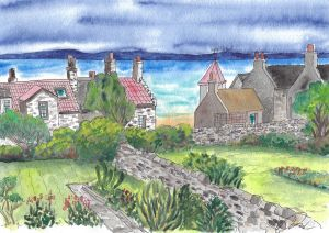 Watercolor painting of a back garden in Elie, Scotland