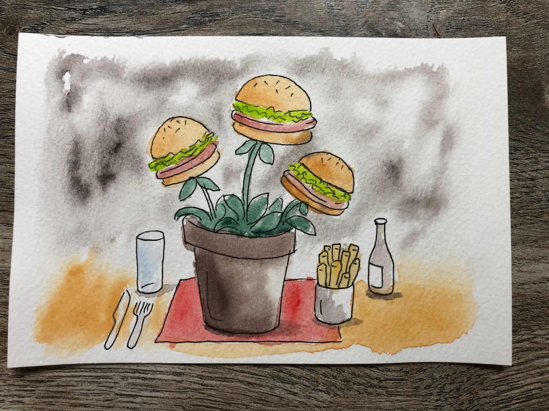 Watercolor painting of a plant pot with burgers in it.