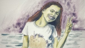 Painting of a girl giving a peace sign.
