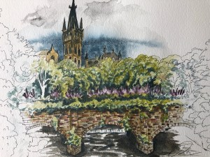 Watercolor painting of the Partick Bridge over the River Kelvin.