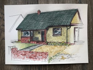 Watercolor painting of the front of our house.