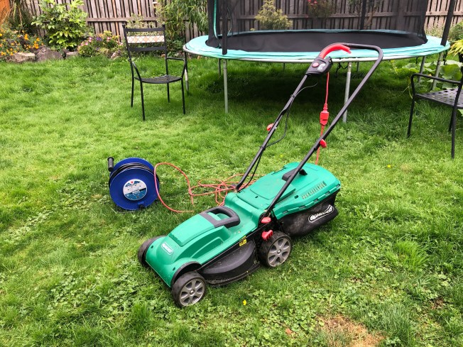 Electric mower and power cable.