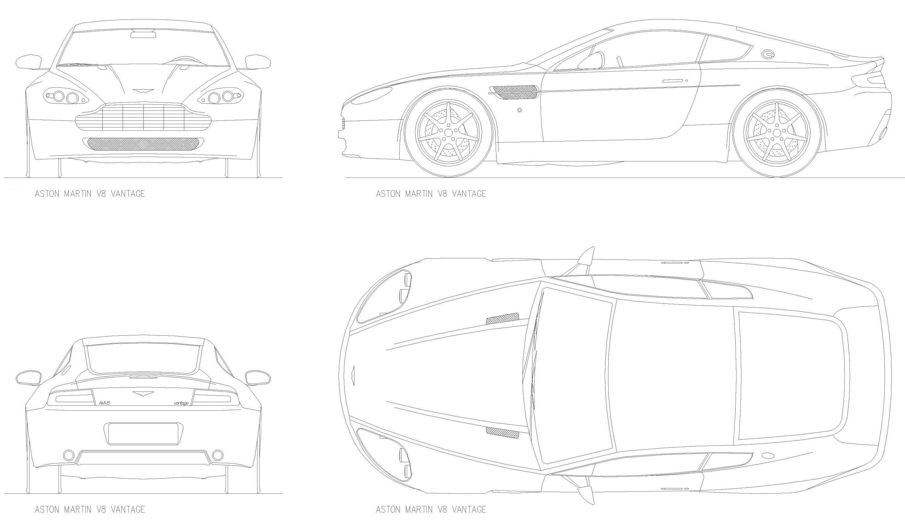 Aston Martin V8 Vantage Coupe Blueprints Free