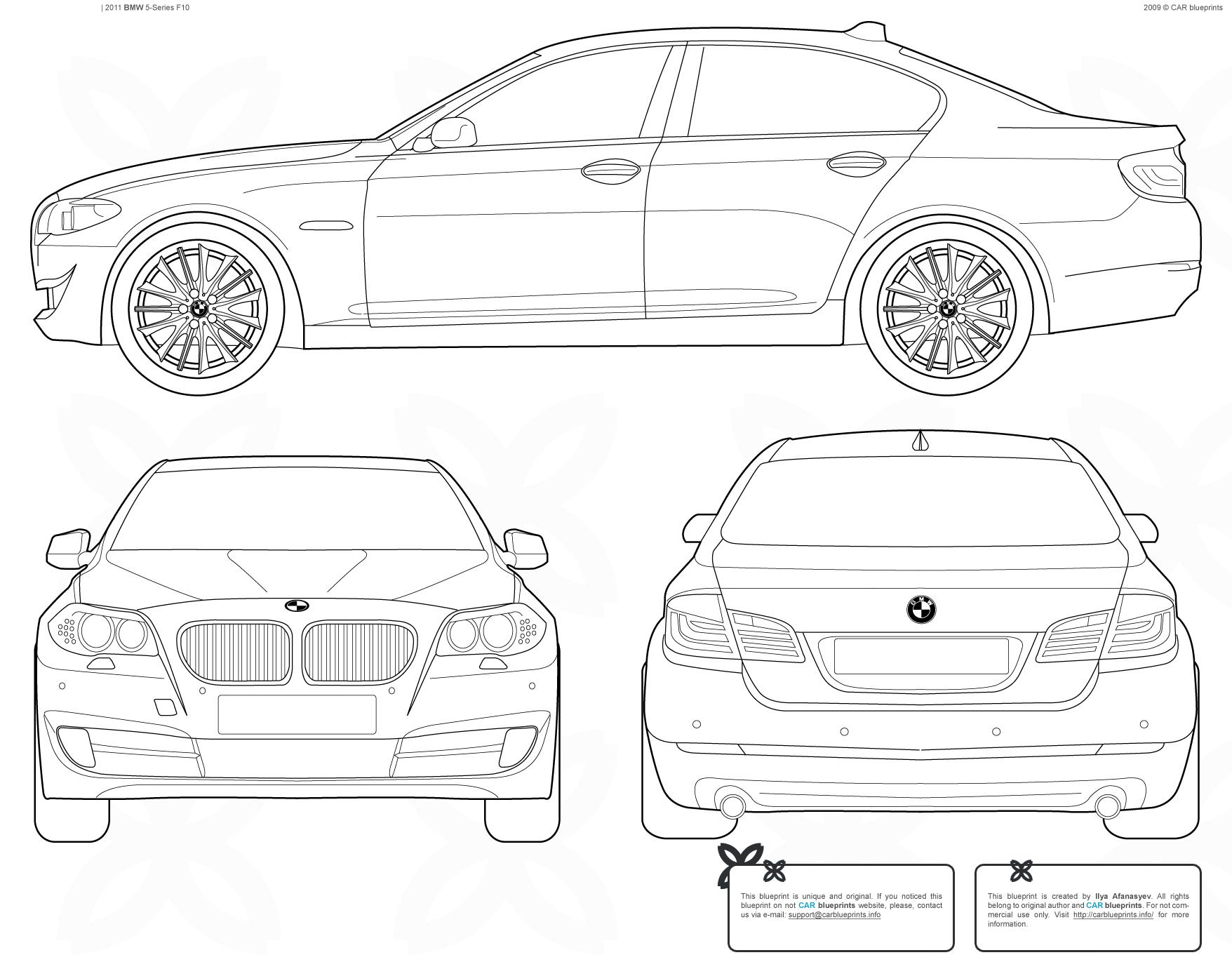 Bmw 5 Series F10 Sedan Blueprints Free