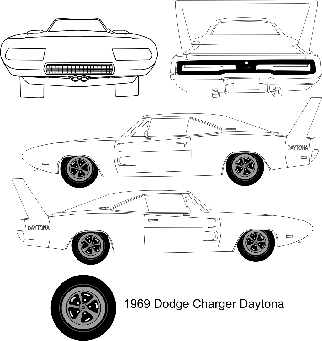 Dodge Charger Daytona Coupe Blueprints Free