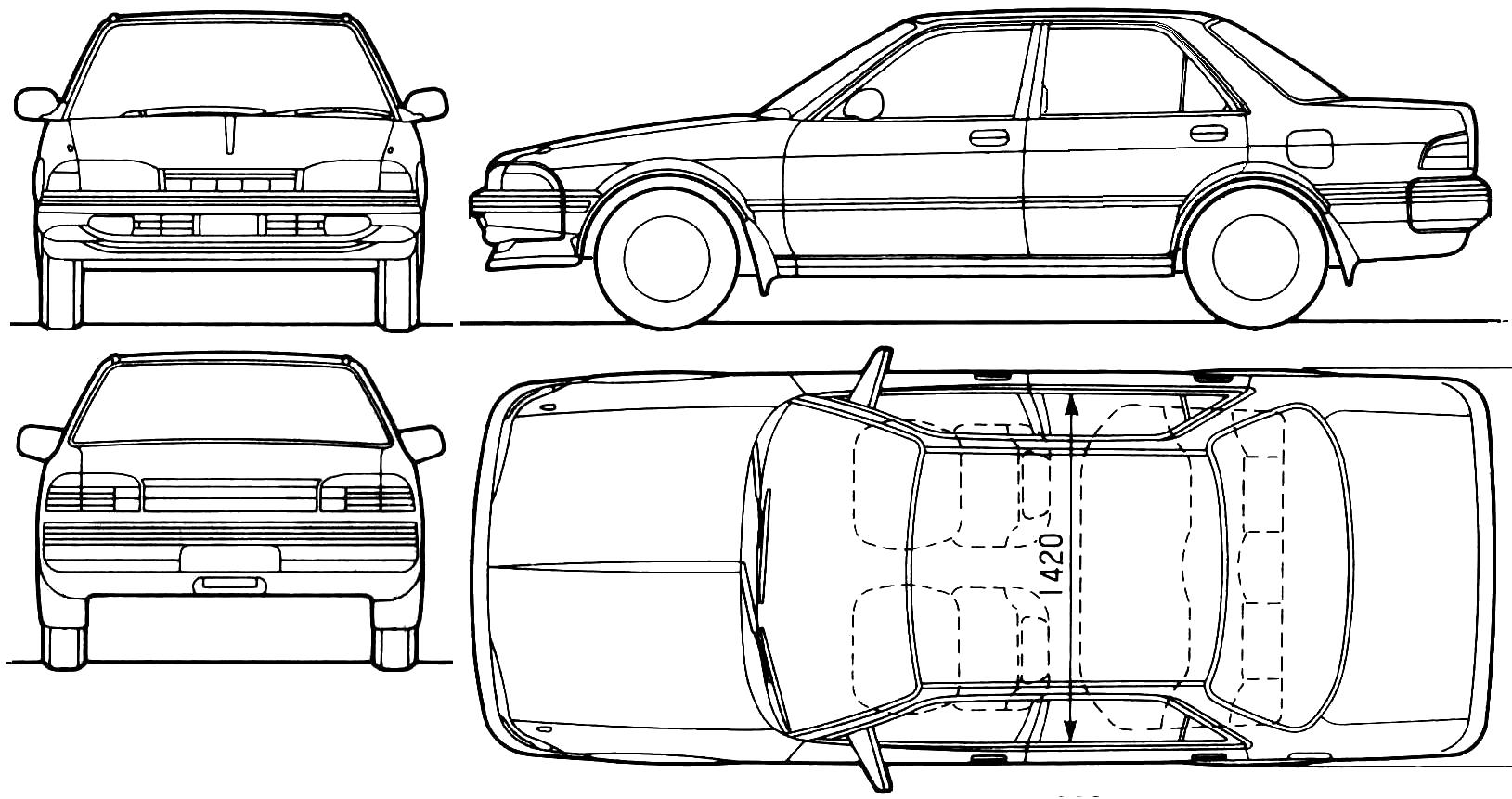 Toyota Carina Ii Sedan Blueprints Free