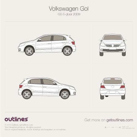 2009 Volkswagen Gol G5 Brasil 5 Door Hatchback Drawings