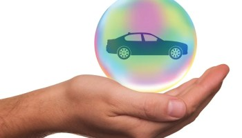 car protected by a bubble