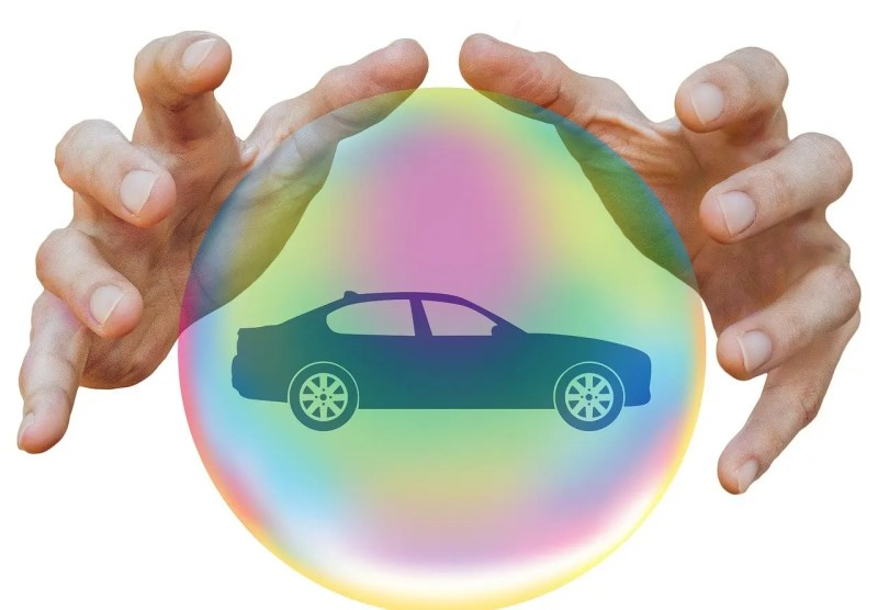 car protected in a bubble