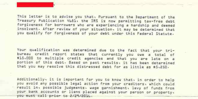 horrible debt relief marketing letter spoofs irs