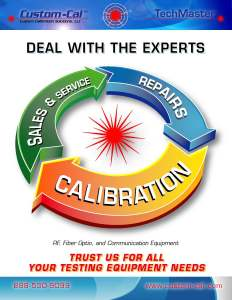 Cover Page for Custom Calibrations Sales Document