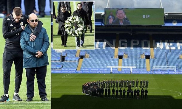 Jamie Vardy and  Kasper Schmeichel break down in tears as Leicester stars gather to mourn owner Billionaire owner Vichai Srivaddhanaprabha