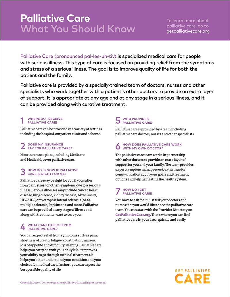 graphic relating to Free Printable Inservices for Home Health Aides titled Palliative Treatment Individual Training Handouts Choose Palliative Treatment