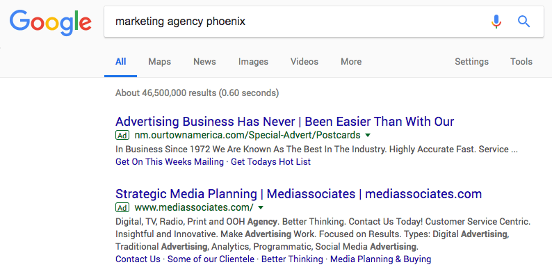 Google search screenshot of marketing agency phoenix query