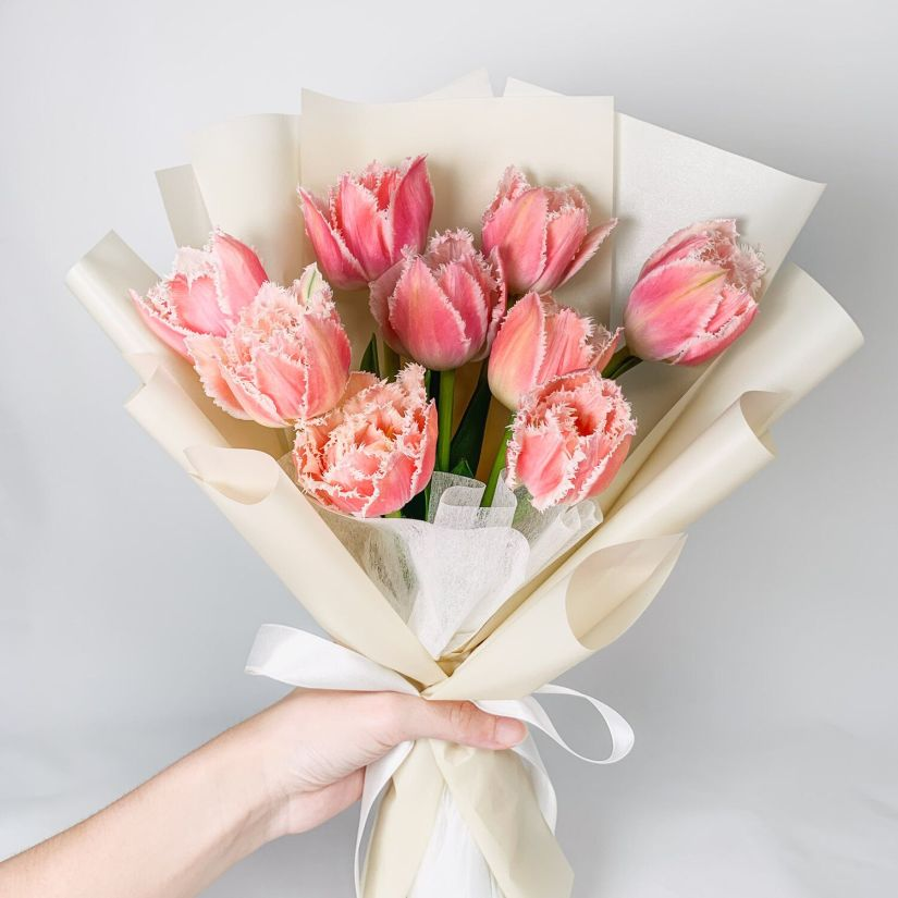 Exceptionally pretty and long-lasting, Tulip Bell Song is a fabulous tulip variety with violet-pink to coral flowers and finely incised white edges atop broad lance-shaped leaves.